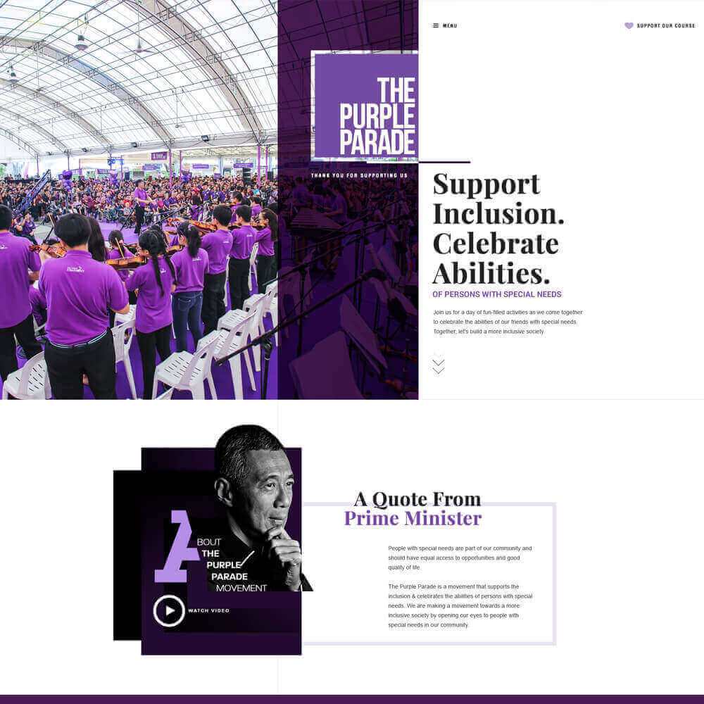 Singapore best web design the purple parade web design