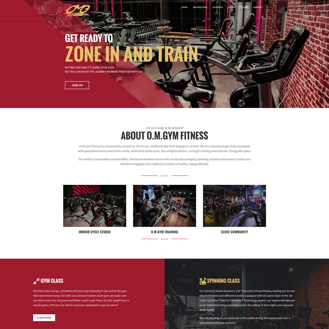 Singapore best web design o.m.gym fitness web design